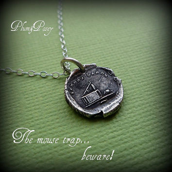 The Mousetrap Wax Seal Necklace Beware by PlumAndPoseyInc