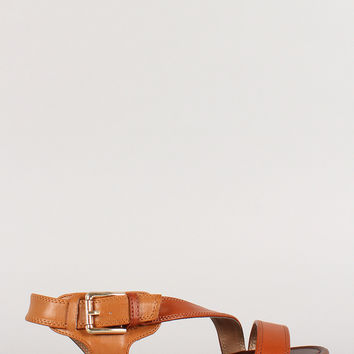 Breckelle Two Tone Buckle Strappy Open Toe Flat Sandal