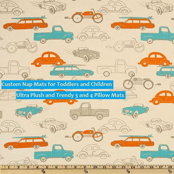 Custom Pillow Floor / Nap Mat - Toddlers - Children - Trendy - Vegan - Modern - Reading Pillow - Large Floor - Spring Trends - Retro Cars