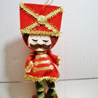 Vintage Toy Soldier Christmas Ornament Red Gold Flocked Paper Festive Holiday Home Decor Retro