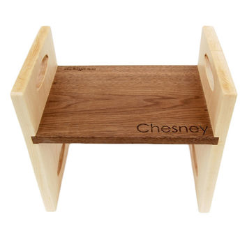 Personalized modern kids step stool, walnut and maple double sided wooden stool with carrying handles