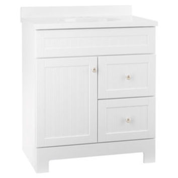 Shop Style Selections Ellenbee White Integral Single Sink Bathroom Vanity with Cultured Marble Top (Common: 31-in x 19-in; Actual: 31-in x 18.5-in) at Lowe's