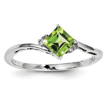 Sterling Silver Diamond And Peridot Square Ring