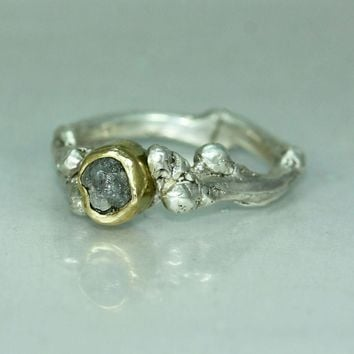 Uncut Diamond Gold Silver Twig Womans Engagement Casual Ring