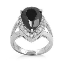 Sterling Silver Pear Shape Black Cubic Zirconia & Clear CZ ring