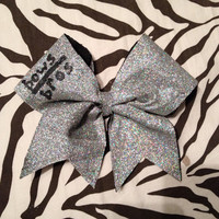 "Large 3"" Cheer Bow - Silver w/ ""bows over bros"""