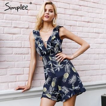 Simplee Hollow out women jumpsuit summer Backless lace up sexy romper Ruffle v neck beach playsuit female short overalls 2018