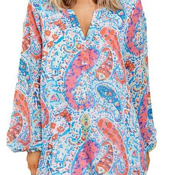 Blue Abstract Fish Print V Neck Long Sleeve Chiffon Dress