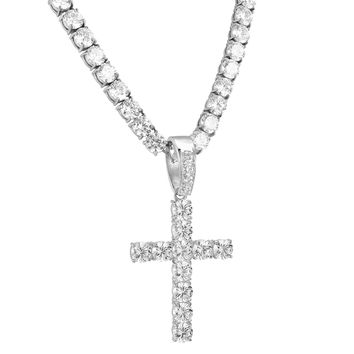 Steel 8mm Solitaire 14k White Gold Finish Cross Pendant Steel Chain