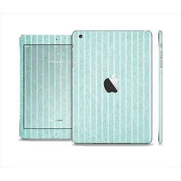 The Light Green Scratched Stripe Pattern v4 Full Body Skin Set for the Apple iPad Mini 2