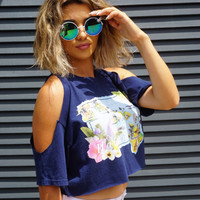 """Hawaiian Islands"" Vintage Crop Tee"