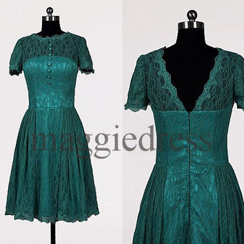Custom Teal Short Sleeves Lace Vintage Short Prom Dress Party Dress Wedding Party Dress Homecoming Dresses Evening Dresses Cocktail Dresses