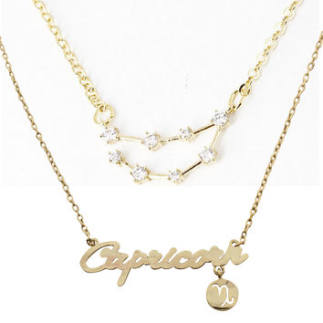 Capricorn Constellation Zodiac Necklace (Dec 23-Jan 20) - As seen in Real Simple, People Magazine & more