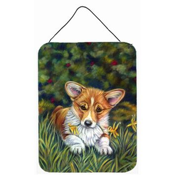 Corgi Pup and Daffodils Wall or Door Hanging Prints 7300DS1216