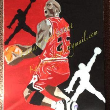 CREYUG7 Michael Jordan Reverse Jam Acrylic Sports Art Basketball Painting