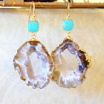 Creamed Agate Geode Earrings - Agate Earrings - Agate Druzy Earrings -  Druzy Geode - Dangle Earrings