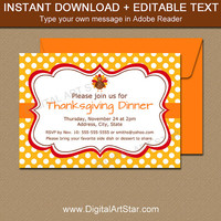 THANKSGIVING INVITATION - Editable Thanksgiving Invites - Thanksgiving Decor - Thanksgiving Dinner Downloadable File - DIY Thanksgiving T4
