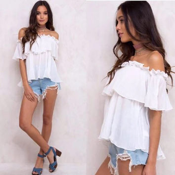 Off shoulder summer boho t shirts ruffles collar frill sexy hot sale t-shirts for women tops pleate