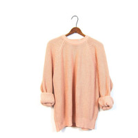 Loose Knit Peach Sweater Basic 80s Preppy Pullover Vintage Raglan Simple Hipster Orange Oversized Slouchy Sweater Women Large