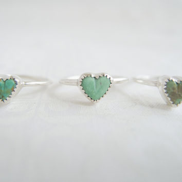 Sterling Silver Rings For Women, Turquoise Heart Ring, Sundance Style Jewelry, Boho Jewelry, Real Turquoise, Turquoise Boho Ring,