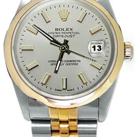 SS& gold Rolex men�s watch datejust white stick dial jubilee
