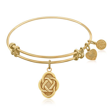 Expandable Bangle in Yellow Tone Brass with Celtic Oval Symbol