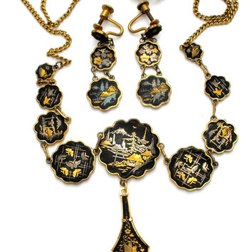 Vintage Damascene Lavalier Necklace & Earrings Set