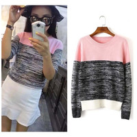 015 Autumn Women Sweaters Elegant Contrast Color Long Sleeve Sweaters Casual Knitted Pullovers Simple Elegant Women Tops = 1946069316