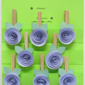 lilac purple rose kitchen magnets set, 8 clothes pin hangers, school or office bridal party gift or baby shower games