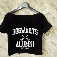 HOGWARTS ALUMNI Crop Tee Shirt woman, Harry Potter Shirt  Black and White TO27