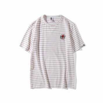 hcxx AAPE 'Ape Embroidered Soldier' Striped T-Shirt
