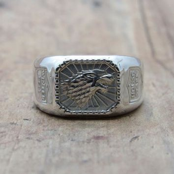 Game Of Thrones, House Stark, Signet Ring, Silver, GOT, Men's Ring, Direwolf, Medieval