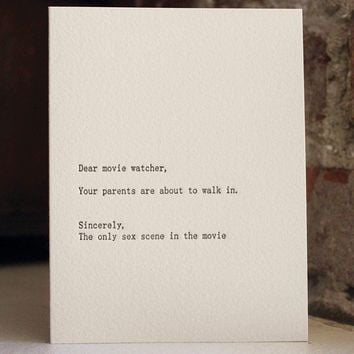 $4.50 dear movie watcher letterpress card by shopsaplingpress on Etsy