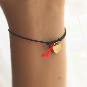 Gold Heart Wish Bracelet - Gift for Her - Bracelets for Women - Best Friend Gift - Red String Bracelet - Friendship Bracelet
