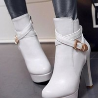 New Women White Round Toe Chunky Buckle Fashion Ankle Boots