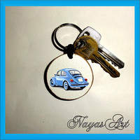 Keychain VW Beetle personalized. Blue car keyring. Wooden Handmade Keyring Keychain. Unique gift, keychain natural slice beautiful keyrings