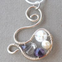 Gemstone Wrapped Silver Wire Pendant Necklace