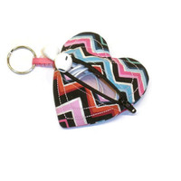 Earbuds case, heart shape pouch, pink chevron pouch, small coin purse, backpack tag, pouch key chain, zipper keychain, stocking stuffer