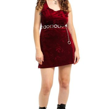 Vintage 90's Wine Velvet Rose Mini Dress - XL