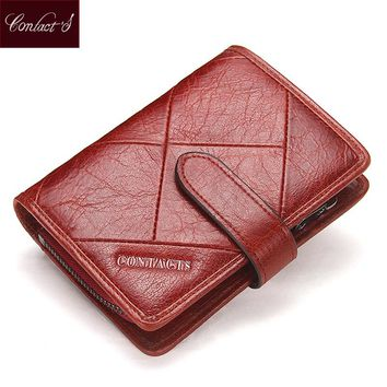 Contact's 2017 New Vintage Women Wallets Female Genuine Leather Womens Wallet Zipper and Hasp Design With Coin Purse Pockets