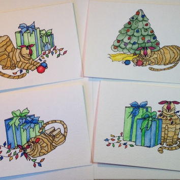 Christmas Cards, 4 Cards, Paintings of Cats, Watercolor, Hand Painted/Illustrated, Savings Pack of 4 Cards, Blank Cards, Christmas Cats