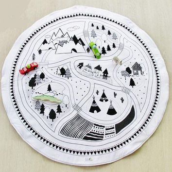Round Baby Play Mat soft Padded Crawling Blanket 105cm Kids Car Track Puzzle Rug Children Play Crawl Carpet Mat Photo Props