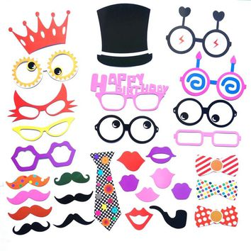 29pcs Funny Wedding Photo Props on a Stick Mask Beard Mustache Glasses Lips Bowtie Photo Booth Posing Props for Birthday Party Decoration