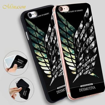 Cool Attack on Titan Minason Japanese Anime  Wings Soft Silicone Phone Case for iPhone X 8 5S 5 SE 6 6S 7 Plus Cover AT_90_11