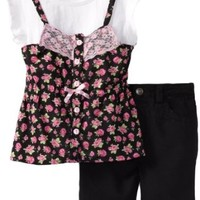 Young Hearts Little Girls' 2 Piece Floral Mock Tunic With Bermuda Short Set