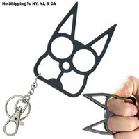 Cat Self Defense Keychain - Black