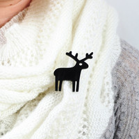 Black Reindeer Brooch,Plexiglass Jewelry,Lasercut Acrylic,Gifts Under 25