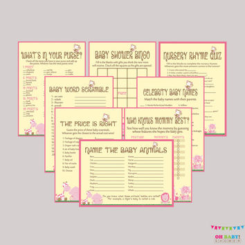 Games Package Girl Baby Shower Safari - EIGHT Printable Games: Bingo, Price is Right, Purse Game, etc - Safari Baby Shower Games - BS0001-P