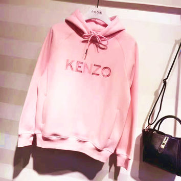 KENZO Fashion Long Sleeve Hooded Embroider Sport Casual Pink Sweater G-A-GHSY-1