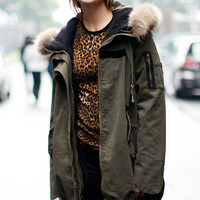 ROMWE | Separated Lining Hooded Army Green Coat, The Latest Street Fashion